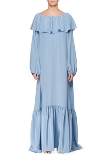 The Row Roosho Off-the-Shoulder Long Silk Dress