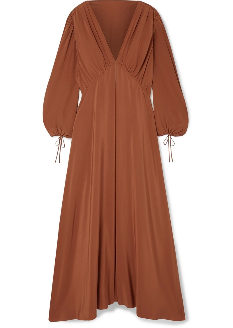 The Row Sante Gathered Silk Crepe De Chine Maxi Dress