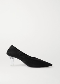The Row Sock Leather-trimmed Mesh Pumps