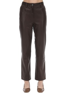 The Row Straight Leg Soft Grain Leather Pants