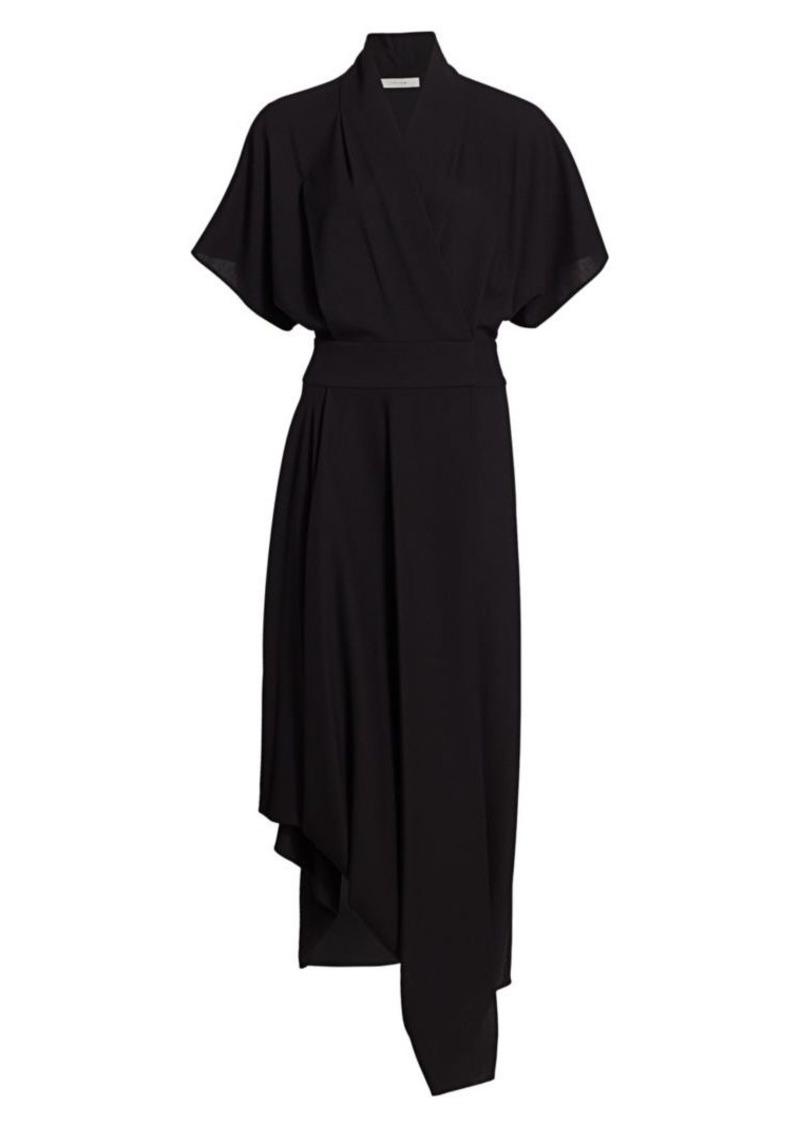 The Row Talisa Asymmetric Wool Draped Maxi Dress