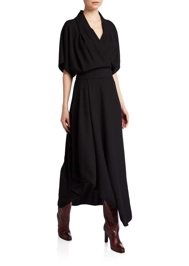 The Row Talisa Wool Dolman-Sleeve Midi Dress
