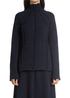 The Row Adamy Mock Neck Exposed Seam Wool Sweater