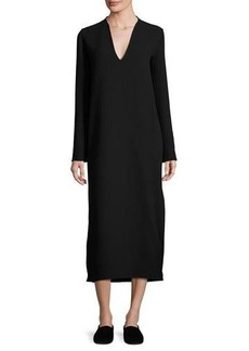 THE ROW Alice Long-Sleeve V-Neck Midi Dress