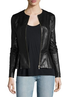 THE ROW Anasta Zip-Front Leather Jacket  Black