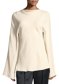 THE ROW Andra Draped-Back Silk Top