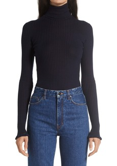 The Row Arzino Rib Cashmere & Silk Turtleneck Sweater