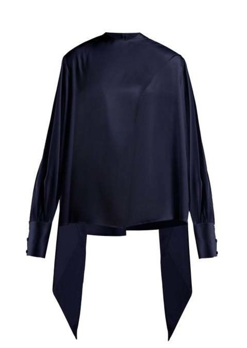 The Row Asta balloon-sleeve satin top