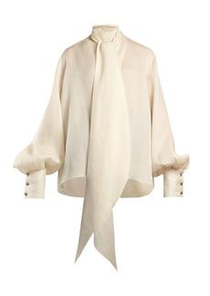 The Row Asta pussy-bow silk blouse