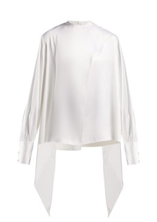 The Row Asta pussy-bow twill blouse