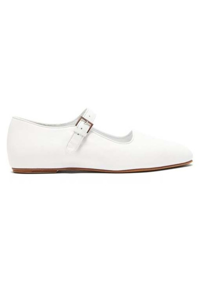 The Row Ava square-toe leather Mary-Jane flats