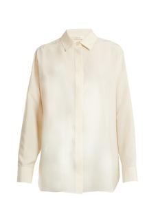 The Row Big Sisea point-collar silk-poplin shirt