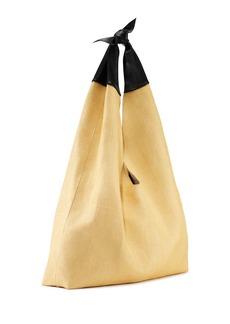 THE ROW Bindle Knot Raffia & Napa Hobo Bag