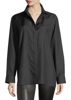 The Row Button-Front Long-Sleeve Silk Shirt