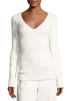 THE ROW Candice Ribbed V-Neck Sweater