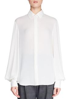 THE ROW Casta Button-Front Blouson-Sleeve Silk Blouse
