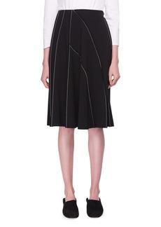 THE ROW Chouli High-Waist A-line Knee-Length Skirt with Topstitching