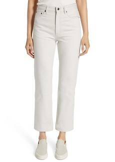 The Row Christie High Waist Crop Straight Leg Jeans (Light Grey)
