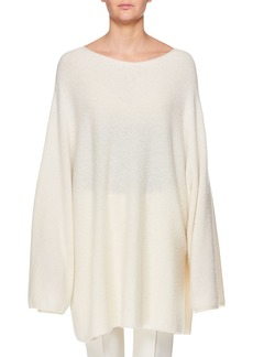 THE ROW Clyde Boat-Neck Long-Sleeve Oversized Cashmere-Silk Top