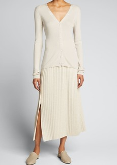 THE ROW Coraline Pleated Wool-Blend Skirt