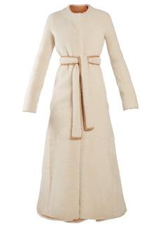 The Row Creyton collarless A-line shearling coat
