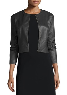 THE ROW Cropped Leather Zip-Front Jacket  Black