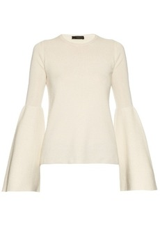 The Row Darcy bell-sleeve cashmere silk-blend knit-top