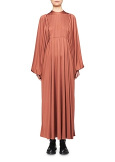 THE ROW Doan Pleated Silk Balloon-Sleeve Dress