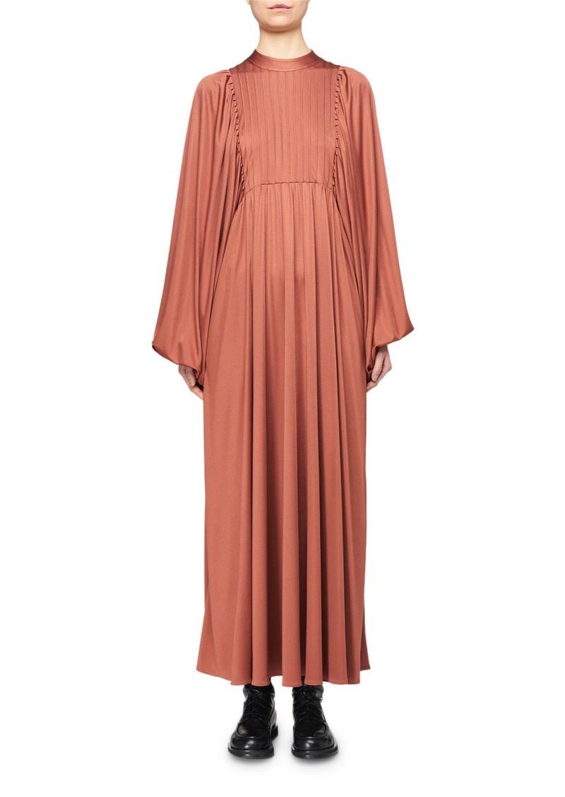 THE ROW Doan Pleated Silk Balloon-Sleeve Dress