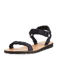 THE ROW Egon Ruched Nylon Flat Sandal