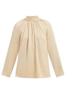 The Row Ella gathered silk-georgette blouse