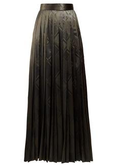 The Row Essa pleated silk-jacquard skirt