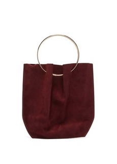The Row Flat micro ring-handle suede bag
