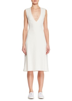 THE ROW Franlan Deep-V Sleeveless Fitted Leather Dress