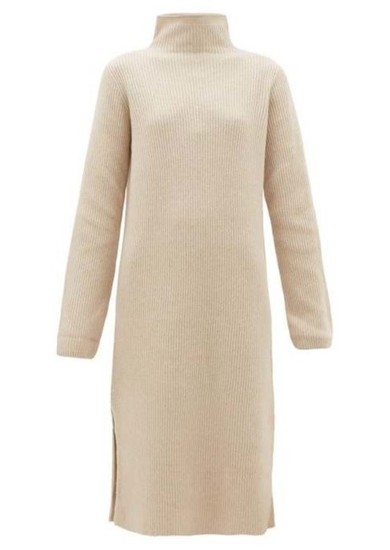 The Row Funnel-neck ribbed wool-blend sweater dress