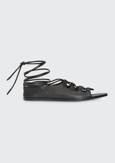 THE ROW Gilli Ankle-Wrap Flat Gladiator Sandals