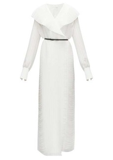 The Row Hania belted plissé-georgette maxi wrap dress