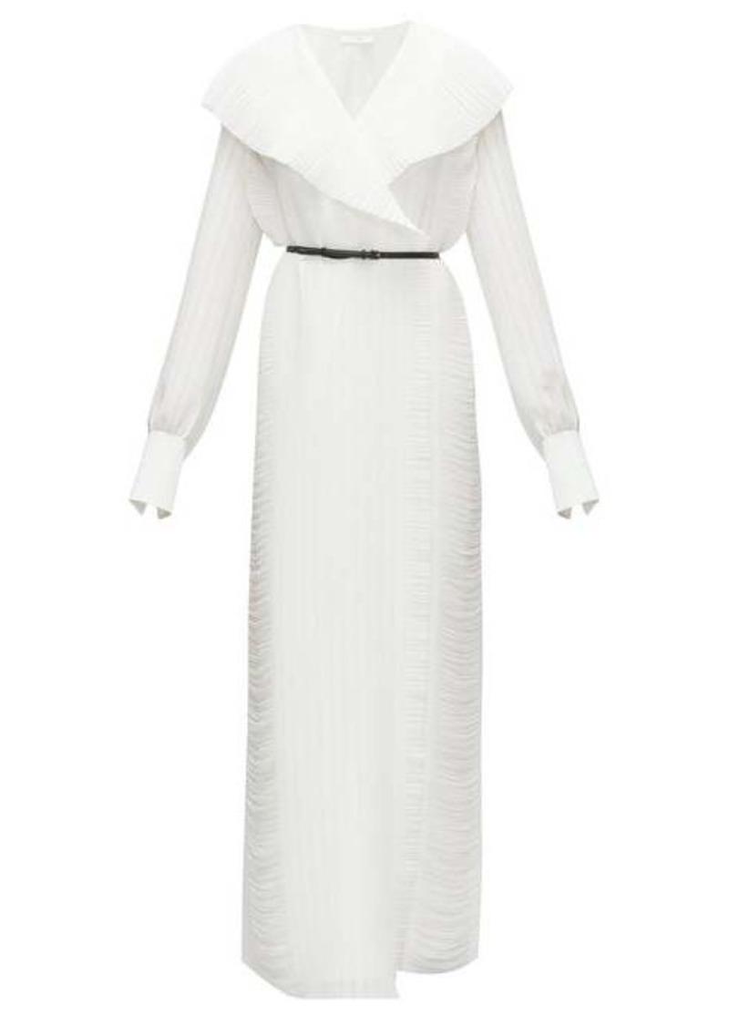 The Row Hania belted plissé-georgette maxi wrap dress
