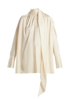 The Row Haree shirred silk shirt