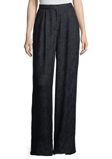 THE ROW Hester High-Waist Wide-Leg Tweed Pants