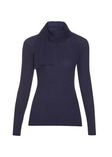 The Row Inga scarf-neck wool and silk-blend sweater