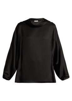 The Row Iona cowl-neck silk-satin top