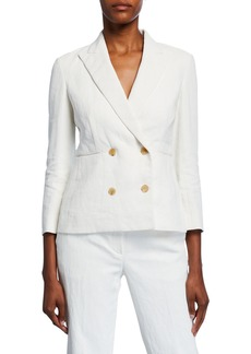 THE ROW Jadu Linen Double-Breasted Blazer