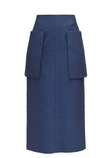The Row Jenna front-pocket technical midi skirt