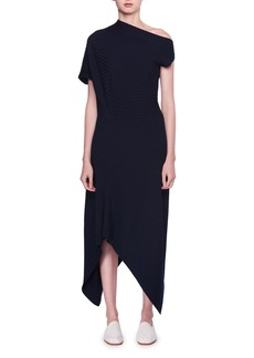 THE ROW Jiana Asymmetric Rib-Knit Wool-Blend Midi Dress