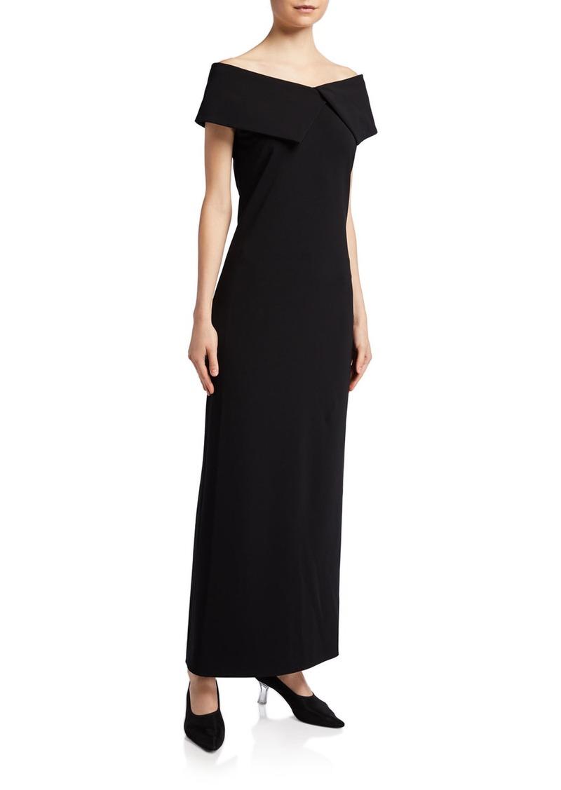 THE ROW Joni Crepe Off-the-Shoulder Column Dress
