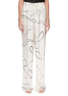 THE ROW JR Abstract-Print Silk Drawstring Pants