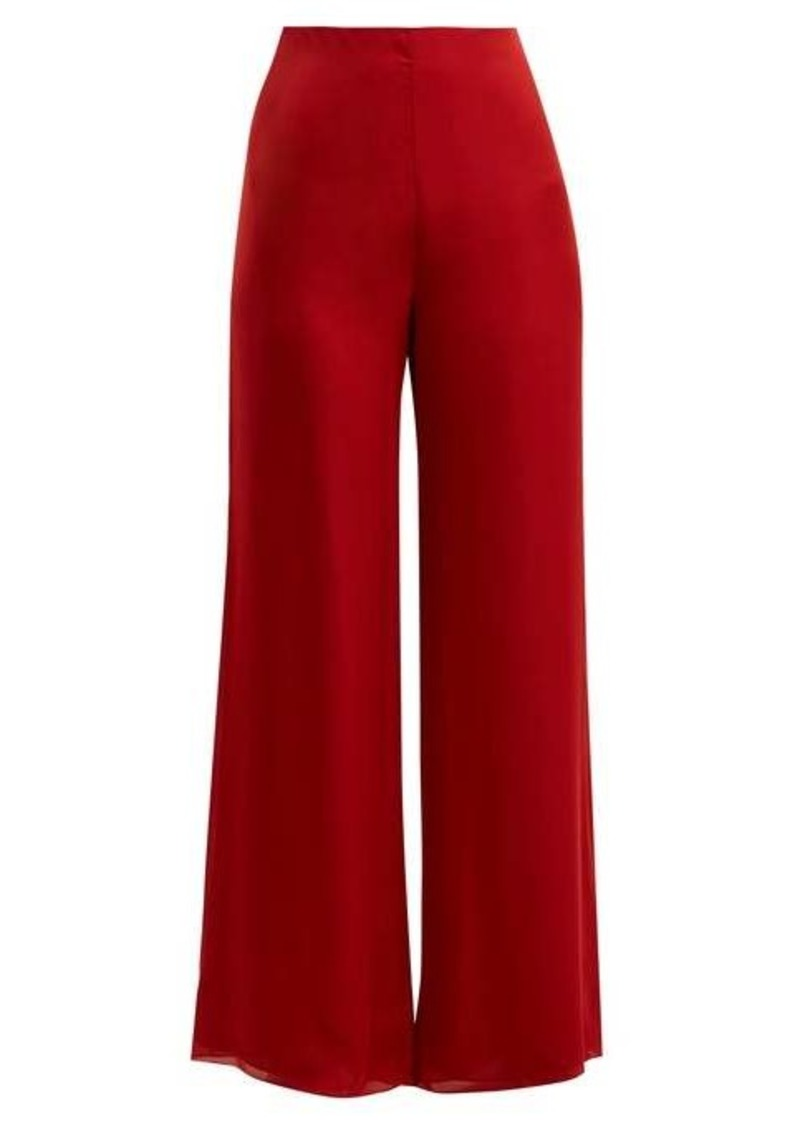The Row Kiola silk-charmeuse wide-leg trousers