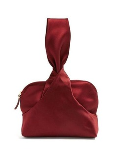 The Row Knotted silk-satin wristlet clutch