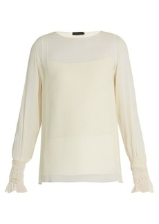 The Row Laver crinkled-silk blouse